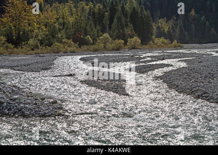 The Small Stream Bubbling Over Countless Water Levels Through The Karwendel Valley In Tyrol - Stock Image