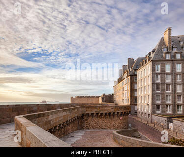 Historic buildings inside the ramparts of Saint-Malo, Brittany, France. - Stock Image