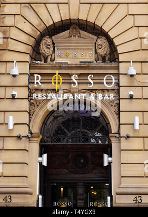 Rosso Restaurant, Manchester, United Kingdom. The trendy city centre eatery owned by former Manchester United footballer Rio Ferdinand - Stock Image