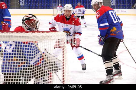 Sochi, Russia. 15th Feb, 2019. Russian President Vladimir Putin, #11, center, during a friendly ice hockey match with Belarus President Alexander Lukashenko at the Shaiba Arena February 15, 2019 in Sochi, Russia. Credit: Planetpix/Alamy Live News - Stock Image