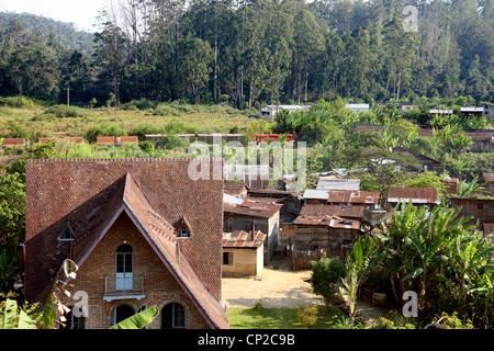 View of Andasibe and the Railway Line, Andasibe Village, Toamasina Province, Madagascar, Africa. - Stock Image