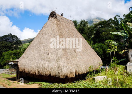 Typical thatched roof wooden house at Bena traditional village, Ngada District, Flores Island (East Nusa Tenggara), Indonesia. - Stock Image