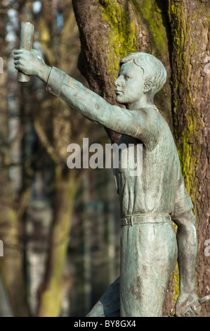 Sculpture of 'the Coventry boy' outside the Cathedral, Coventry, West Midlands, UK - Stock Image