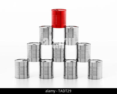 Tower of tin cans with one red can isolated on white background. 3D illustration. - Stock Image