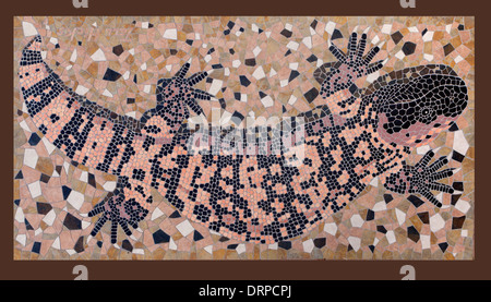 A Gila Monster lizard tile mosaic - Stock Image