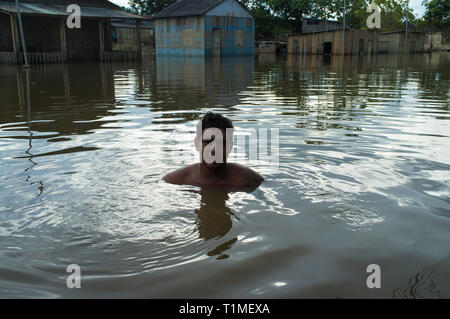 2015 flooding in Brazilian Amazon - flooded houses in Taquari district, Rio Branco city, Acre State. Jose Alcides dos Santos swims in the dark and dirt waters of Acre river. Floods have been affecting thousands of people in the state of Acre, northern Brazil, since 23 February 2015, when some of the state's rivers, in particular the Acre river, overflowed. Further heavy rainfall has forced river levels higher still, and on 03 March 2015 Brazil's federal government declared a state of emergency in Acre State, where current flood situation has been described as the worst in 132 years. - Stock Image