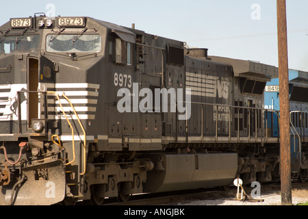 8973 black cattle diesel dirty engine force goods guard heavy horse industry locomotive mass metal movement power - Stock Image