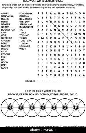 Puzzle page with two word games (English language). Headwear word search puzzle. Common knowledge fill the wheels criss-cross. Answer included. - Stock Image