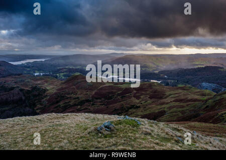 Elterwater, Loughrigg Tarn, and Windermere, seen from the summit of Silver How, near  Grasmere, Lake District, Cumbria - Stock Image