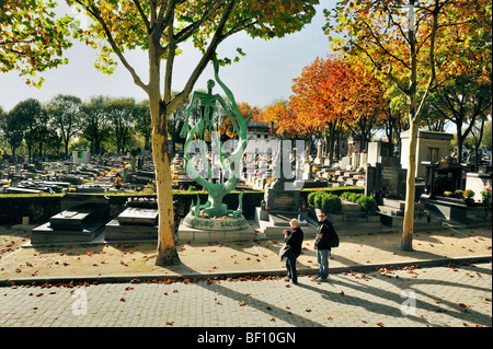 Paris, France - 'Pere Lachaise' Cemetery, People Visiting Monument to Jews Deported to 'Concentration - Stock Image