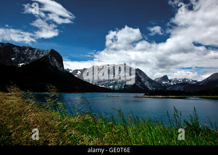 Upper Kananaskis Lake Rocky Mountains Alberta Canada mountain vista provincial park - Stock Image