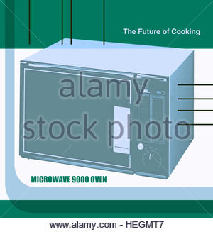 The future cooking microwave oven retro vintage advert manual lifestyle kitchen cookery - Stock Image