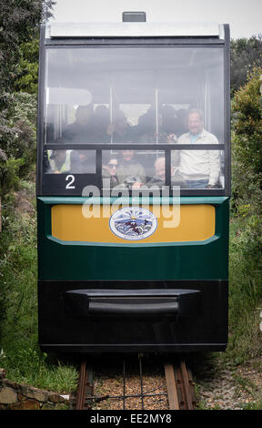 Car 2 of 'The Flying Dutchman' funicular railway arriving at the Car Park station at Cape Point, South Africa. - Stock Image