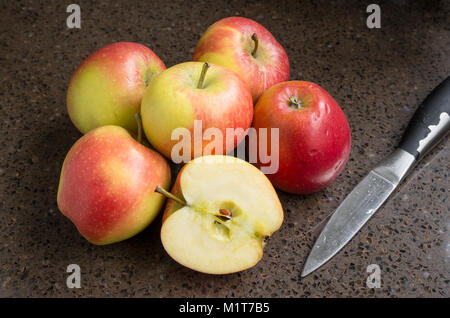 Selection of shop-bought Kansi apples variety Nicoter characterised by coloour, taste and crispness with one sliced - Stock Image