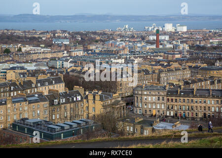 EDINBURGH, SCOTLAND - FEBRUARY 9, 2019 - The view of New Town and and the Firth of Forth from Calton Hill - Stock Image