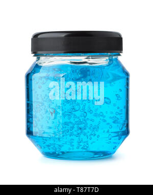 Front view of blue hair styling gel jar isolated on white - Stock Image