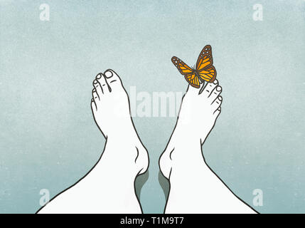 Butterfly landing on mans toe - Stock Image
