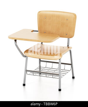 Student chair isolated on white background. 3D illustration. - Stock Image