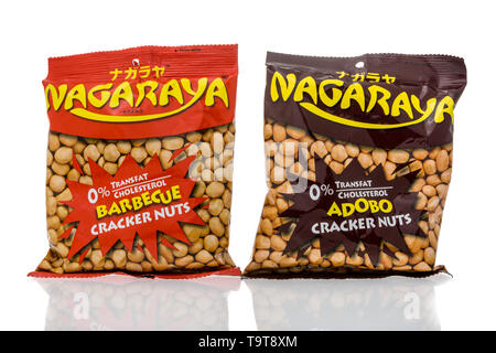 Winneconne, WI - 11 May 2019 : A package of Nagaraya cracker nuts in barbecue and adobo on an isolated background - Stock Image
