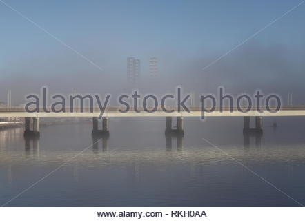 Drill rigs at Port of Dundee with fog Scotland  January 2019 - Stock Image