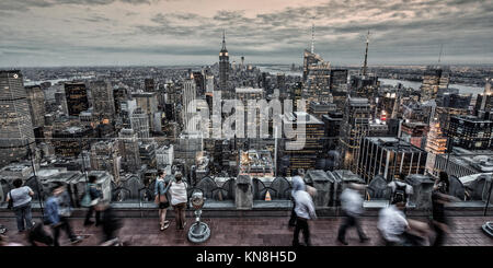 Panoramic view from Rockefeller Center, Big Apple, Empire State building, Skyline, New York, United States of America - Stock Image