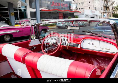 Cuba, Havana. Classic red convertible car. Credit as: Wendy Kaveney / Jaynes Gallery / DanitaDelimont.com - Stock Image