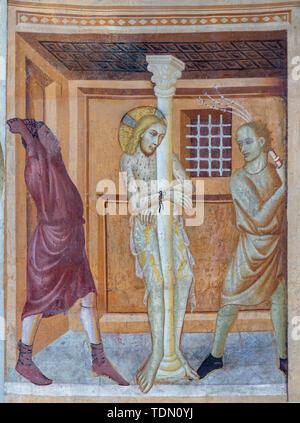 COMO, ITALY - MAY 9, 2015: The old fresco of Flagellation of Jesus in church Basilica di San Abbondio by unknown artist 'Maestro di Sant'Abbondio'. - Stock Image