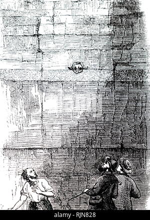 An engraving depicting fossil hunters in the Crayford pits near Erith, Kent, in the Thames Valley, momentarily alarmed by the skull of a Musk Sheep (Ovis Moschatus) peering out of strata. Dated 19th century - Stock Image