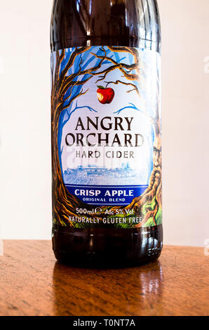 A brown bottle of Angry Orchard hard cider produced in the USA - Stock Image