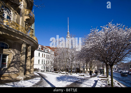 Nikolai quarter Ephraim Palais Alex winter snow Berlin center Germany - Stock Image