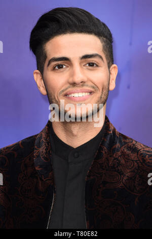 London, UK. 09th May, 2019. LONDON, UK. May 09, 2019: Mena Massoud at the 'Aladdin' premiere at the Odeon Luxe, Leicester Square, London. Picture: Steve Vas/Featureflash Credit: Paul Smith/Alamy Live News - Stock Image