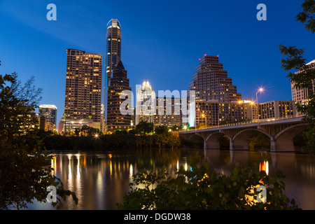 Austin skyline and Congress Avenue Bridge at twilight Texas USA - Stock Image