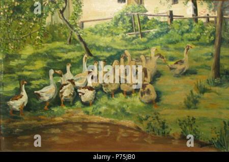 Român: Ludovic Bassarab (1868-1933) - Cârd de gâte, ulei pe carton, semnat, datat 1928 dreapta jos, 18,5 x 25,5 cm. . 1928 159 Ludovic Bassarab - Card de gaste - Stock Image