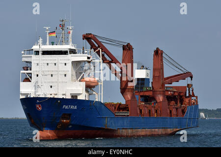 RoRo Cargo Ship Patria inbound for the Holtenau-Locks of Kiel-Canal - Stock Image