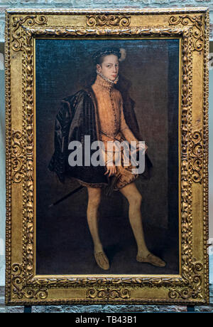 Italy Emilia Romagna Parma Museum Pole of the Pilotta - National gallery north wing of the second floor  - Alessandro Farnese by Anthonis Mor - Stock Image