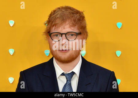 Ed Sheeran attends the UK Premiere of 'Yesterday' at the Odeon Luxe in Leicester Square, London, England. - Stock Image