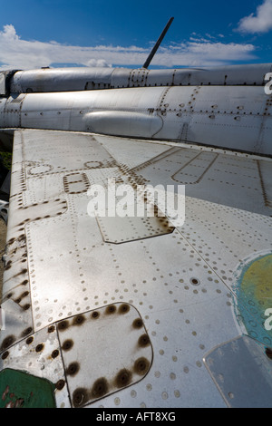 Duralumin airframe on retired MiG-21 PF aircraft, ex Czech Air Force - Stock Image