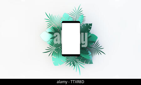Mobile with tropical palm leaves. 3d rendering - Stock Image