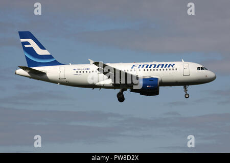 Finnair Airbus A319-100 (old livery) with registration OH-LVK on short final for runway 14 of Zurich Airport. - Stock Image