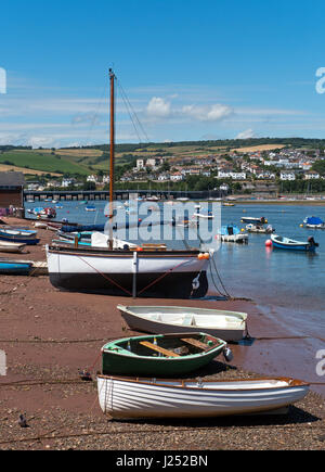 The Beach at Shaldon with it colourful boats, beside The River Teign Estuary, South Devon, England, UK - Stock Image