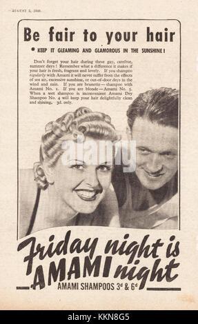 1939 UK Magazine Amami Shampoo Advert - Stock Image