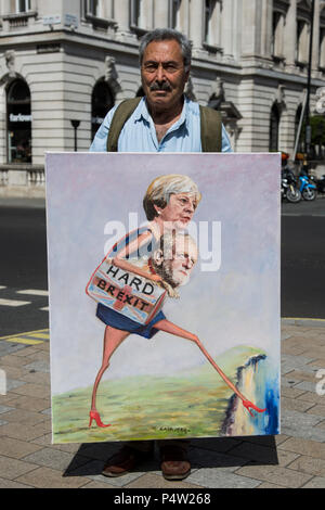 London, UK. 23 June 2018.Anti-Brexit march and rally for a People's Vote in Central London: Political artistKaya Mar holds his painting 'Hard Brexit' depicting Theresa May and Jeremy Corbyn walking off a cliff edge. - Stock Image