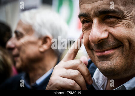 Nicola Zingaretti, President of Italy's Lazio region and new leader of the centre-left Democratic party PD prior to Italy's Liberation Day celebrations in Milan, Italy  on 25th April 2019. The Festa della liberazione, also known as Anniversary of the Liberation is a national Italian holiday celebrating the end of the Nazi occupation during World War II and the victory of the Resistance. - Stock Image