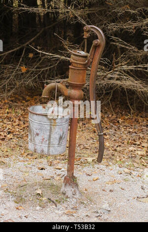 Water Pump at The Old Baily School House. 1907-1941. A one-room log schoolhouse built in 1907. It is now part of Sturgeon Point State Park. Harrisvill - Stock Image
