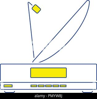 Satellite receiver with antenna icon. Thin line design. Vector illustration. - Stock Image