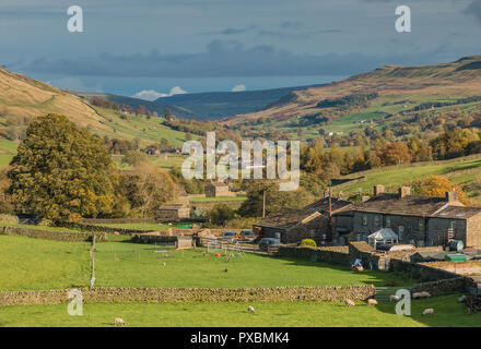 Yorkshire Dales National Park autumn landscape, the village of Muker, Swaledale - Stock Image