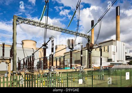 Electricity substation at Ferrybridge coal-fired power station, West Yorkshire, England - Stock Image