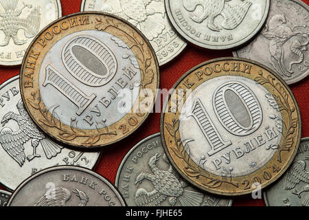 Coins of Russia. Russian 10 ruble coins. - Stock Image