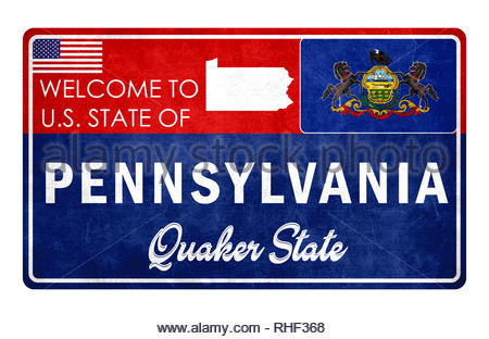Welcome to Pennsylvania - grunge sign - Stock Image