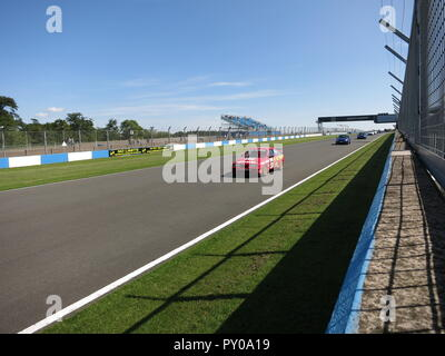 Ford Sierra RS500 RS 500 Cosworth Australian Touring Car Championship as driven by Dick Johnson in events such as bathurst 1000 in Shell Ultra Hi-Tech Racing Team livery - as shown at the RS Owners club National day 2017 at donnington park race track circuit - leading a parade lap - Stock Image